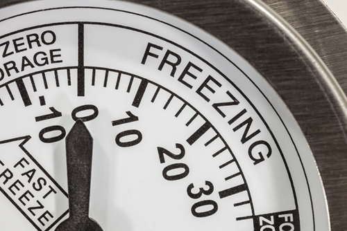 "Thermometer with the word ""freezing"" visible"