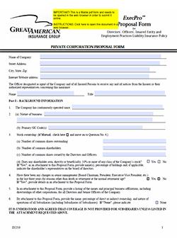 Executive Liability Application