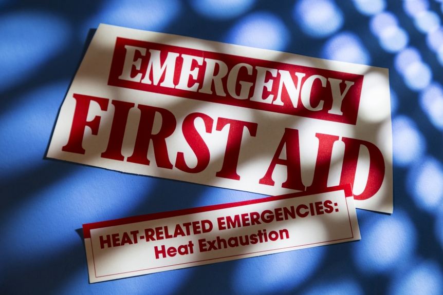 Close-up text Emergency First Aid with illness sympton - accident.